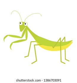 Mantis icon. Cute cartoon kawaii funny character. Green insect isolated. Praying mantid. Big eyes. Smiling face. Flat design. Baby clip art. White background. Vector illustration
