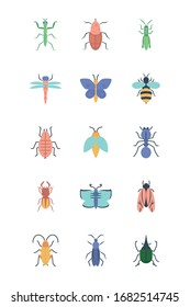 mantis and insect concept icon set over white background, flat style, vector illustration