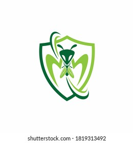 mantis logo with insect vector