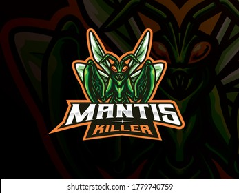Mantis mascot sport logo design. Mantis animal mascot vector illustration logo. Insect gaming mascot logo, Emblem design for esports team. Vector illustration