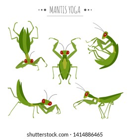 Mantis yoga poses and exercises. Cute cartoon clipart set. Vector illustration