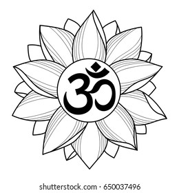 ac947c77f Mantra Om and lotus on white background. Modern tattoo, textile print,  coloring page