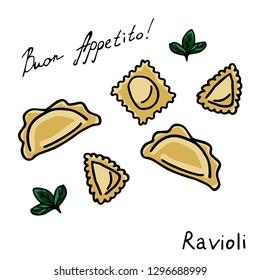 Manty, meat dumpling, pelmeni, jiaozi, pyanse or pigodi, khinkali, ravioli, Pierogi or varenyky. and drawn doodle vector illustration. Illustration for menu, cafe, restaurant, bar, shop, poster
