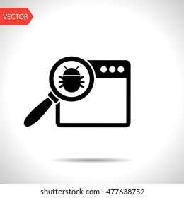 Manual debugging process, code development programming concept web flat vector icon. Elimination bugs from computer app illustration.
