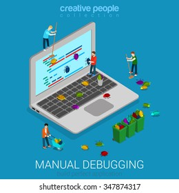 Manual debugging process flat 3d isometry isometric code development programming concept web vector illustration. Micro test engineer young men debug eliminating bugs from computer screen around.