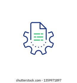 Manual document, big data processing technology, storage and analysis, cogwheel and paper file, capturing digital information, software solution, vector line icon, linear illustration