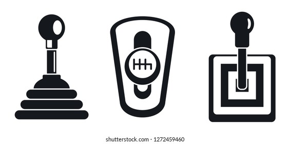 Manual gearbox icon set. Simple set of manual gearbox vector icons for web design on white background