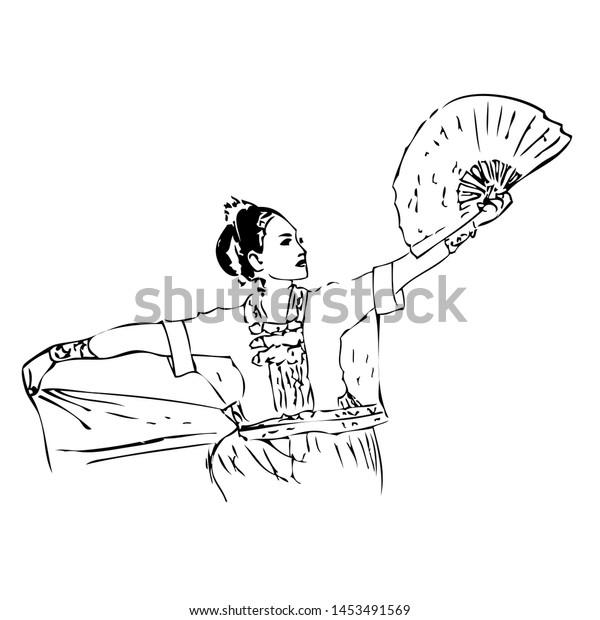 Manual Hand Draw Sketch Girl Kipas Stock Vector Royalty Free 1453491569