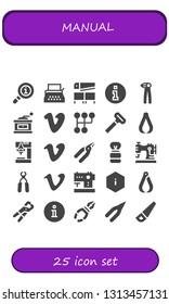 manual icon set. 25 filled manual icons.  Simple modern icons about  - Info, Typewriter, Saw, Information, Pliers, Grinder, Vimeo, Gearshift, Razor, Drill, Shaving brush, Sewing machine