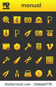 manual icon set. 26 filled manual icons.  Simple modern icons about  - Information, Sewing machine, Manual, Saw, Pliers, Info, Razor, Vimeo, Exposure, Typewriter, Advise