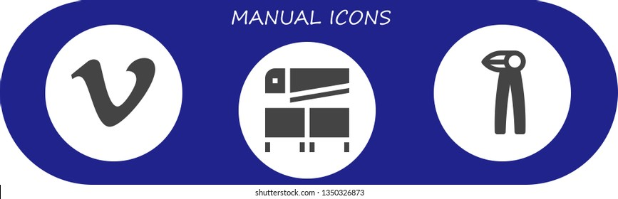manual icon set. 3 filled manual icons.  Simple modern icons about  - Vimeo, Saw, Pliers
