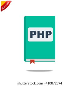 manual php book icon, vector handbook php icon, isolated book icon