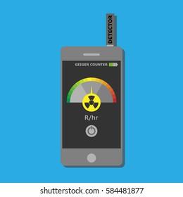 Manual radiometer verification of radiation contamination. Flat vector illustration. Design element. Compact sensor. Measurement of radiation levels.