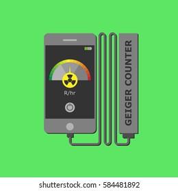 Manual radiometer verification of radiation contamination. Flat vector illustration. Design element. Manual sensor. Measurement of radiation levels.