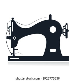 Manual sewing machine vector icon. Simple illustration of manual stitching machine icon for web design isolated on white background.