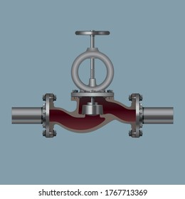 Manual shut-out valve design for waterpipes, industrial equipment. Vector illustration