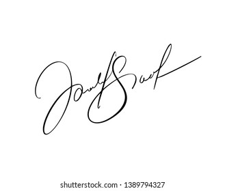 Manual signature for documents on white background. Hand drawn Calligraphy lettering Vector illustration