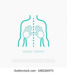 Manual therapy thin line icon. Modern vector illustration of physiotherapy.