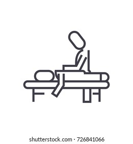 manual therapy,massage,spa,osteopathy vector line icon, sign, illustration on background, editable strokes