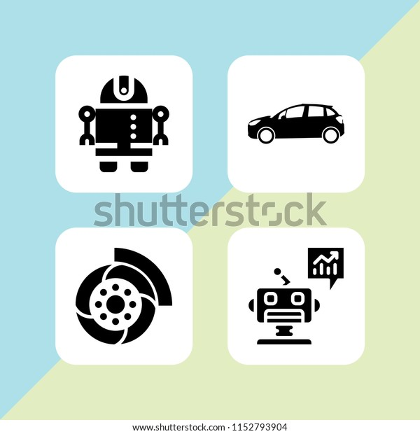 Manufacture Icon 4 Manufacture Set Automobile Stock Vector Royalty