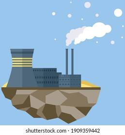 Manufacture pollutes atmosphere. Plant isolated on piece of land. Building destroying environment and emits harmful gases. Energy production factory. Environmental pollution with smog and smoke