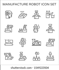 Manufacture robot and production work such as food processing, beverage, box packaging, fresh food and automotive production vector icon set design, line and editable stroke.