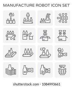 Manufacture and robot working with beverage bottle in production line vector icon set design, black and editable line stroke.