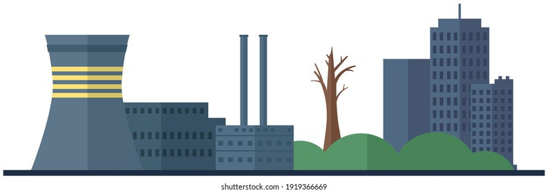 Manufactures and factories pollute air and atmosphere. Plant isolated on white background. Building destroying environment and contributing to industrialization process. Energy production factory