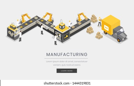 Manufacturing business, company landing page template. Fully automated, autonomous manufacture process, industrialization isometric vector illustration. Assembly and distribution website 3d design