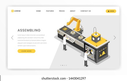 Manufacturing, constructing process landing page template. Hardware engineers monitoring autonomous manufacture vector isometric illustration. Modern, futuristic factory, research centre website