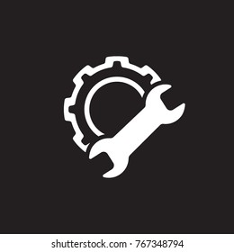 Manufacturing Icon. Gear and Wrench. Service Symbol. Flat Line Pictogram. Isolated on white background.