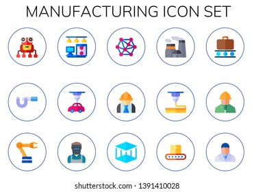 manufacturing icon set. 15 flat manufacturing icons.  Collection Of - robot, micrometer, d printer, d modeling, engineering, nuclear plant, conveyor, engineer, robotic arm, welder