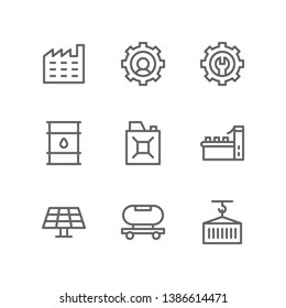 Manufacturing icon set including factory, engineer, maintenance, oil, gasoline can, conveyor, solar panel, tanker, cargo