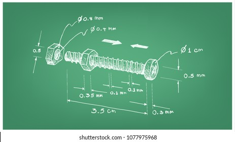 Manufacturing and Industry, Illustration Hand Drawn Sketch Dimension of Hex Nut and Screw. A Type of Fastener with Threaded Hole Used in Conjunction with A Mating Bolt to Fasten Parts Together.
