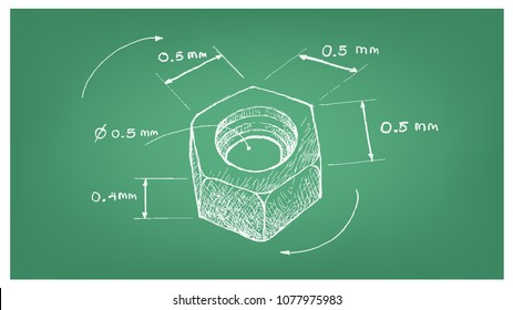 Manufacturing and Industry, Illustration Hand Drawn Sketch Dimension of Hex Nut Screw. A Type of Fastener with Threaded Hole Used in Conjunction with A Mating Bolt to Fasten Parts Together.