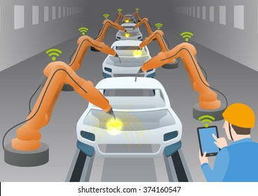 manufacturing line of a automotive factory and welding robots, controlled by engineer with tablet device, internet of things, industry4.0, factory automation image, vector illustration
