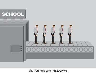 Manufacturing machine titled school mass produces similar dull people product. Vector illustration on flaw of education system concept.