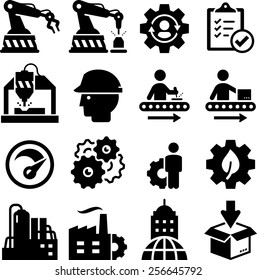 Manufacturing plant and factory icons.