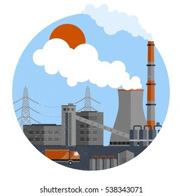 Manufacturing plant template with buildings smoke chimney truck lines of electricity transfers in circle isolated vector illustration