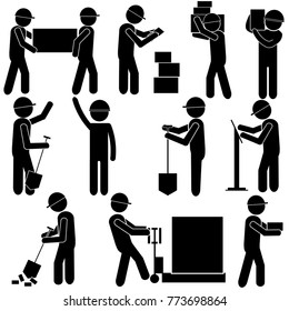 Manufacturing Process. Hard Manual Work. Stick Figure Pictogram Icon. Vector Illustration