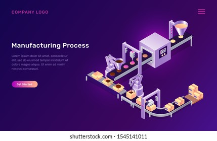 Manufacturing process isometric concept vector illustration. Conveyor belt for cookies assembly, baking, adding jam chocolate and product packaging, production line confectionery factory purple banner