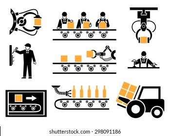 Manufacturing process or production icons set. Industrial conveyor, packing box, mechanical machine, vector illustration