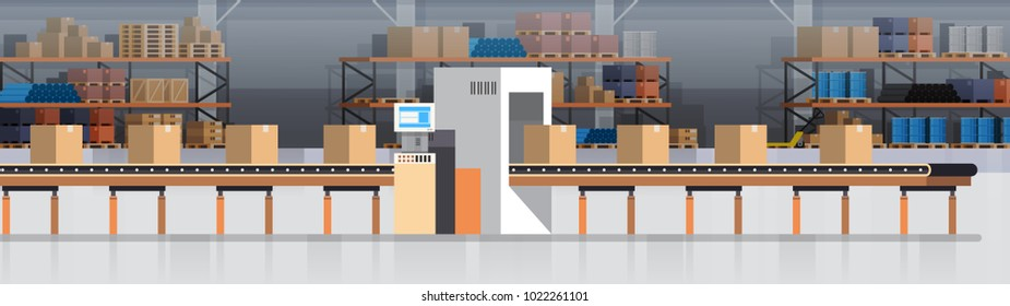 Manufacturing Warehouse Conveyor, Modern Assembly Production Line Industrial Conveyor Production Flat Vector Illustration