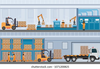 Manufacturing Warehouse Conveyor, Modern Assembly Production Line Industrial,warehouse, freight transportation and professional workers, smart factory in Flat Vector illustration.