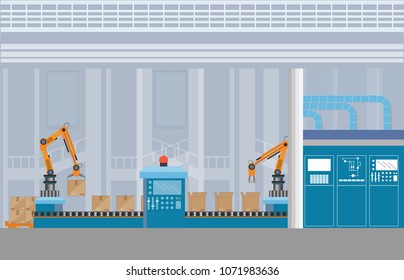 Manufacturing Warehouse Conveyor with workers, robots and assembly line Industrial, Robot working with conveyor belt inside factory, Flat Vector Illustration.