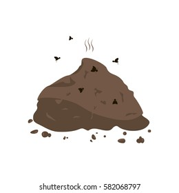Manure and flies icon. Vector illustration flat design.