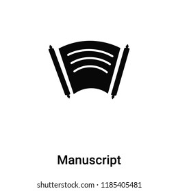 Manuscript icon vector isolated on white background, logo concept of Manuscript sign on transparent background, filled black symbol