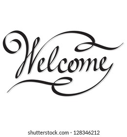 Manuscript style 'welcome'