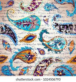 Manuscript vintage pattern with grunge elements Paisley. Seamless pattern in indian style.