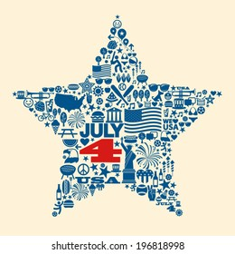 Many 4th of July icons collage design